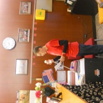 Justin Banks reading a Veterans Day essay