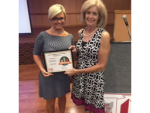 Mrs. Deanne Johnson (pictured on the left) accepted the award from Linda Radtke, Regional Coordinator for HSTW in Southwest Ohio