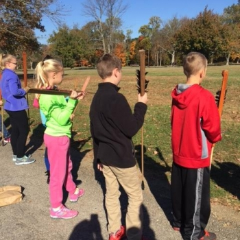 Grigsby students learn how to shoot a bow and arrow