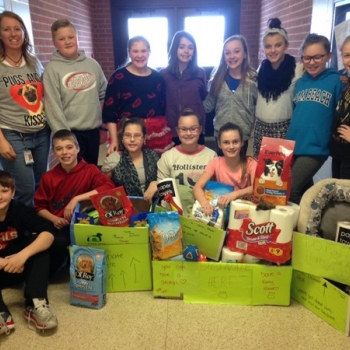 Fifth grade accepted donations for The Humane Society for Greater Dayton